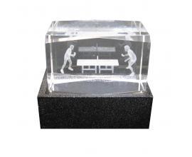 Donic / Кристален блок с 3D изображение и постамент